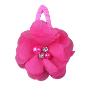 ZHUOTOP Toddler Baby Girls Chiffon Wrap Clip Barrettes Kids Solid Flower Hair Clips Headwear Hair Accessories Hot Pink 9#
