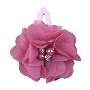 ZHUOTOP Toddler Baby Girls Chiffon Wrap Clip Barrettes Kids Solid Flower Hair Clips Headwear Hair Accessories Dark Pink 2#