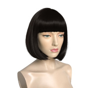 Namecute Short Bob Black Hair Wigs Straight Flat Bangs Synthetic Wig for Cosplay Daily Party Wig for Women + Free Wig Cap