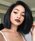 Auspiciouswig Short Straight Bob Human Hair Lace Front Wigs Virgin Remy Brazilian Hair Full Lace Wigs for Women
