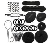 HENGSONG Bun Maker Hair Styling Tool Donut Hair Bun Spiral DIY Hairdressing Tools Set Foam Sponge Braid Hair Clip