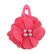 ZHUOTOP Toddler Baby Girls Chiffon Wrap Clip Barrettes Kids Solid Flower Hair Clips Headwear Hair Accessories Watermellon Red 6#