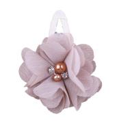 ZHUOTOP Toddler Baby Girls Chiffon Wrap Clip Barrettes Kids Solid Flower Hair Clips Headwear Hair Accessories Khaki 5#