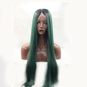 MENRY Women Synthetic Wig Lace Front Medium Length Long Green Natural Hairline Natural Wigs Costume Wig …