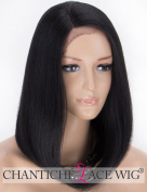 Chantiche L-Part Black Lace Wig - Natural Straight Bob Synthetic Wigs for Women Side Part Medium Length Hair Wig