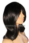 MOKLOX Wig Virgin Human Hair Wig Glueless Full Lace 36cm Long Short Medium Bob Lob Black 1 1b Small Silk Top 180% Density