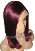 MOKLOX Wig Remy Human Hair Front Lace 36cm Medium Large Dark Red 99J Silky Straight Silk Top