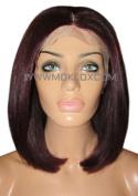 MOKLOX Wig Human Hair Front Lace 30cm Medium Short Bob Lob Dark Red Plum 99J Silk Top