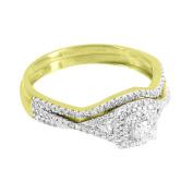 2 Pc Ring 10k Yellow Gold Genuine Diamonds Solitaire Engagement Wedding Womens Classy