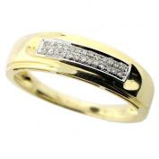 10K Gold Mens Wedding Band 6mm Wide 1/10cttw Diamonds