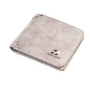 Tianfuheng Retro Men's Trifold Short Wallet Faux Leather Thin Card Holder Purse Business Wallet size Cross