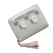 Retro Embroidered Flower Tassels Short Wallet Card Cash Money Holder Case Bag