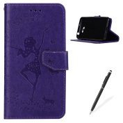 MAGQI Premium Huawei Y5 II PU Leather Wellat Ultra Slim Case,Beautiful Dance Girl Pattern Design with Magnetic Closure and Foldable Stand Function Pocket Shell -Purple