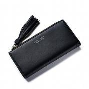 GTUKO RFID Blocking Ladies Luxury Real Nappa Leather Long Purse Multi Credit Card Wallet With Inner Zipped Pockets 19.3X9.5X3Cm , Black