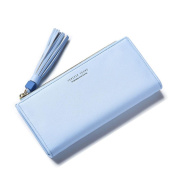 GTUKO RFID Blocking Ladies Luxury Real Nappa Leather Long Purse Multi Credit Card Wallet With Inner Zipped Pockets 19.3X9.5X3Cm , Blue