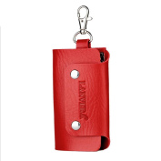GTUKO Leather Craft Car Key Case Keychain Wallet Single Key Ring Pouch Holder Package (Red) , Red