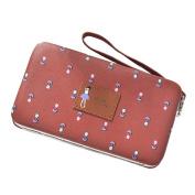 Bluelans Sweet Cartoon Flowers Faux Leather Multi-function Zipper Long Wallet Phone Bag