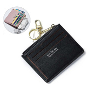 Sunroyal Simple [MINI] PU Leather Wallet with Credit Card Slots Cash Slots photo Holders RFID Blocking Organ Zipper Purse - Light Grey