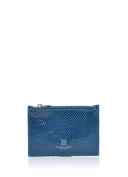 Dalton Textured Leather Coin Purse in Blue