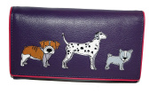 Mala Leather Medium Flapover purse Style Best friends Dog 328965 Col Purple New