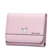 GTUKO RFID Women Three Fold Wallet Leather Clutch Id Window Coin Card Holder Purse Lady Small Short Handbag Bag (Pink,Grey,Black,Purple) 11.8X9.5X1.8Cm , Purple