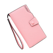 GTUKO RFID Blocking Ladies Luxury Real Nappa Leather Long Flap Over Purse Multi Credit Card Wallet With Inner Zipped Pockets 19X10.5X2Cm , Pink