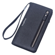 GTUKO RFID Blocking Ladies Luxury Real Nappa Leather Long Flap Over Purse Multi Credit Card Wallet With Inner Zipped Pockets 20X10.5X3Cm , Black