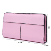 GTUKO RFID Blocking Ladies Luxury Real Nappa Leather Long Purse Multi Credit Card Wallet With Inner Zipped Pockets 19.5X10X1.5Cm , Pink