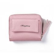 GTUKO Women Purse Clutch Wallet Lady Zipper Foldable Short Small Bag Coin Card Holder 110X90X37Mm , Pink