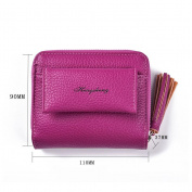 GTUKO Women Purse Clutch Wallet Lady Zipper Foldable Short Small Bag Coin Card Holder 110X90X37Mm , Rose Red