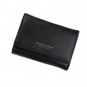 GTUKO Women Purse Clutch Wallet Lady Zipper Foldable Short Small Bag Coin Card Holder 120X90X25Mm , Black