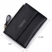 GTUKO Women Purse Clutch Wallet Lady Zipper Foldable Short Small Bag Coin Card Holder 138X90X1.5Mm , Black