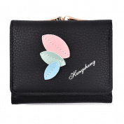 GTUKO Women Purse Clutch Wallet Lady Zipper Foldable Short Small Bag Coin Card Holder 105X85X30Mm , Black