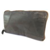 """Leather zip wallet + chequebook holder 'Gianni Conti'dark brown vintage - 18.5x10.5x2 cm (7.28""""x4.13""""x0.79"""")."""