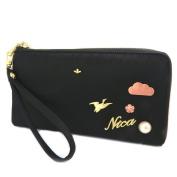 """Zippered wallet + chequebook holder 'Nica'black gold - 20x11x2 cm (7.87""""x4.33""""x0.79"""")."""