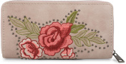 styleBREAKER purse with roses flowers leaves and studs, all-round zipper, purse, ladies 02040086, colour:Rose