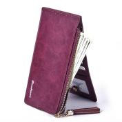 Gtuko Women'S Wallet Long European And American Retro Fashion Multi-Card Zipper Frosted Pickup Cell Phone Bit , Burgundy