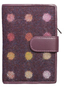 BOXED Mala Leather ladies tab purse leather & tweed abertweed 3124 40 plum spot