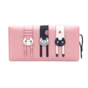Domybest Women Cartoon 3 Cats Long Zipper Wallet Student Phone Bag Purse