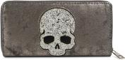 styleBREAKER purse with sequins skull application, all-round zipper, purse, ladies 02040085, colour:Antique-Dark Grey