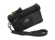 Mala Leather TUDOR Collection Leather Wristlet Purse - RFID Protected 3418_88 Black