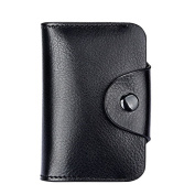 Tianfuheng Womens Genuine Leather Retro Wallet Blocking Solid Colour Credit Card Holder