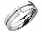 Mens Chisel 6mm Comfort Fit Diamond Titanium Wedding Band 1/10 Carat
