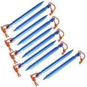 Unique Bargains 10pcs 18cm Length Aluminium Alloy Tri-Beam Tent Stakes Blue w Reflective Rope