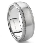 Titanium 8mm Milgrain Wedding Band Ring Sz 7.0