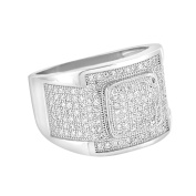 Mens Sterling Silver Wedding Ring Size 9 Cubic Zirconia Engagement Custom Style