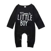 Brightup Baby Boy Long Sleeve Romper Jumpsuit With Bottons Spring Autumn Outfit Clothes,Mom's Little Boy Printed Jumpsuit