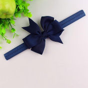 ZHUOTOP Purl Colour Baby Bowknot Headband Classic Headwear Hair Bands Accessories for Newborn Toddler Infant Babies Navy