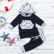 SHOBDW Boys Clothing Sets, Baby Boy Girl Print Hoodie Tops + Pants Toddler Outfits Clothes