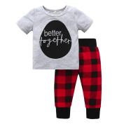 Fulltime Baby Tracksuit, (TM) Infant Girls Letter Print Tops Shirt+Plaid Pants Outfits